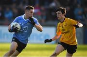 8 January 2017; Paul Hudson of Dublin in action against Eoin Smith of DCU during the Bord na Mona O'Byrne Cup Group 1 Round 1 match between Dublin and DCU Dochas Eireann at Parnell Park in Dublin.  Photo by Cody Glenn/Sportsfile