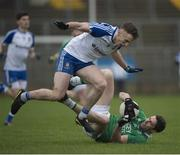 8 January 2017; Eoin Donnelly of Fermanagh in action against Fintan Kelly of Monaghan during the Bank of Ireland Dr. McKenna Cup Section B Round 1 match between Monaghan and Fermanagh at St Tiernach's Park in Clones, Co. Monaghan. Photo by Philip Fitzpatrick/Sportsfile