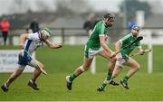 8 January 2017; Gearóid Hegarty of Limerick, supported by team-mate Seán Tobin, behind, gets past Mark O'Brien of Waterford during the Co-Op Superstores Munster Senior Hurling League First Round match between Waterford and Limerick at Fraher Field in Dungarvan, Co. Waterford. Photo by Piaras Ó Mídheach/Sportsfile