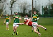 8 January 2017; Mikey Boyle of Kerry in action against David Griffin of Cork during the Co-Op Superstores Munster Senior Hurling League First Round match between Cork and Kerry at Mallow GAA Grounds in Mallow, Co. Cork. Photo by Eóin Noonan/Sportsfile