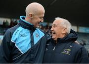 8 January 2017; Dublin manager Paul Clarke, left, shares a laugh with former Meath manager Sean Boylan following the Bord na Mona O'Byrne Cup Group 1 Round 1 match between Dublin and DCU Dochas Eireann at Parnell Park in Dublin.  Photo by Cody Glenn/Sportsfile