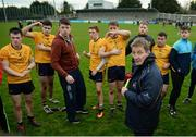 8 January 2017; DCU manager Prof. Niall Moyna talks to his players following the Bord na Mona O'Byrne Cup Group 1 Round 1 match between Dublin and DCU Dochas Eireann at Parnell Park in Dublin.  Photo by Cody Glenn/Sportsfile