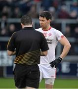 8 January 2017; Mattie Donnelly of Tyrone about to receive a red card from Referee Martin McNally during the second half of the Bank of Ireland Dr. McKenna Cup Section C Round 1 match between Cavan and Tyrone at Kingspan Breffni Park in Cavan. Photo by Oliver McVeigh/Sportsfile