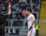 8 January 2017; Mattie Donnelly of Tyrone receives a red card from Referee Martin McNally during the second half of the Bank of Ireland Dr. McKenna Cup Section C Round 1 match between Cavan and Tyrone at Kingspan Breffni Park in Cavan. Photo by Oliver McVeigh/Sportsfile