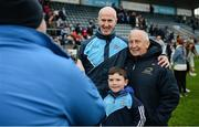 8 January 2017; Dublin manager Paul Clarke poses for a photo with former Meath manager Sean Boylan, who is now on the DCU coaching staff, and a young supporter following the Bord na Mona O'Byrne Cup Group 1 Round 1 match between Dublin and DCU Dochas Eireann at Parnell Park in Dublin.  Photo by Cody Glenn/Sportsfile
