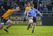 8 January 2017; Shane Boland of Dublin in action against Enda Smith of DCU during the Bord na Mona O'Byrne Cup Group 1 Round 1 match between Dublin and DCU Dochas Eireann at Parnell Park in Dublin.  Photo by Cody Glenn/Sportsfile