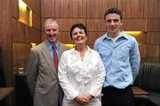 30 May 2011; Pictured at the 2011 Cadbury Hero of the Future Award's ceremony are, from left, Francis Collins, Jacinta Collins and Mark Collins, from Cork. Mark Collins was one of 14 shortlisted players who excelled throughout the 2011 Cadbury GAA U21 Football Championship. The 2011 Cadbury Hero of the Future Award was won by Thomas Flynn from Galway. All nominees can be seen on www.cadburygaau21.com Past winners, Rory O'Carroll from Dublin, Colm O'Neill and Fintan Goold from Cork, Killian Young from Kerry and Keith Higgins from Mayo have gone on to represent their Counties at Senior level. 2011 Cadbury Hero of the Future Awards, Croke Park, Dublin. Picture credit: Pat Murphy / SPORTSFILE