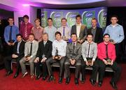 30 May 2011; Páraic Ó Dufaigh, Ard-Stiúrthóir, GAA and Shane Guest, Cadbury Ireland, with the 2011 Cadbury Hero of the Future Awards team, back row, from left, Barry Reilly, Cavan, Gearoid McKiernan, Cavan, Conor Lynam, Westmeath, Mark Hehir, Galway, Sean Gaul, wexford, Michael O'Regan, Wexford, Tomas Fahy, Galway, and Mark Collins, Cork. Front row, from left, Niall Kilroy, Roscommon, Jack Brady, Cavan, Thomas Flynn from Galway, who won the 2011 Cadbury Hero of the Future Award, Chris McGuinness, Monaghan, and Paul Geaney, Kerry. Thomas was one of 14 shortlisted players who had excelled throughout the 2011 Cadbury GAA U21 Football Championship, all nominees can be seen on www.cadburygaau21.com Past winners include Rory O'Carroll from Dublin, Colm O'Neill and Fintan Goold from Cork, Killian Young from Kerry and Keith Higgins from Mayo and all have gone on to represent their counties at senior level. Thomas, who plays his club football with St Mary's Athenry was named as a Cadbury Hero of the Match for his performance against Cork in the All Ireland Semi Final. The judging panel which consisted of senior Kildare footballer Dermot Earley, former Dublin manager Paul Caffrey, TG4 journalist Michael O'Domhnaill and former Kerry and All Star player Darragh O'Se gave serious consideration to the public votes cast on cadburygaau21.com, but ultimately Thomas Flynn's heroic performances in both the semi-final against Cork and the final against Cavan edged the competition out in the end. 2011 Cadbury Hero of the Future Awards, Croke Park, Dublin. Picture credit: Pat Murphy / SPORTSFILE