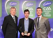30 May 2011; Pictured with Páraic Ó Dufaigh, Ard-Stiúrthóir, GAA, and Shane Guest, Cadbury Ireland, is Niall Kilroy from Roscommon who was shortlisted for the 2011 Cadbury Hero of the Future Award, Niall Kilroy was one of 14 shortlisted players who excelled throughout the 2011 Cadbury GAA U21 Football Championship. The 2011 Cadbury Hero of the Future Award was won by Thomas Flynn from Galway. All nominees can be seen on www.cadburygaau21.com Past winners, Rory O'Carroll from Dublin, Colm O'Neill and Fintan Goold from Cork, Killian Young from Kerry and Keith Higgins from Mayo have gone on to represent their Counties at Senior level. 2011 Cadbury Hero of the Future Awards, Croke Park, Dublin. Picture credit: Pat Murphy / SPORTSFILE