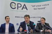 9 January 2017; Declan Brennan, Secretary CPA, centre, Aaron Kernan, CPA Executive member and Grassroots Coordinator, left, and Micheal Briody Chairman CPA, at the official launch of the Club Players Association at Ballyboden St Enda's GAA in Firhouse Rd, Ballyroan, Dublin. The CPA are calling for all GAA Club members to register at www.gaaclubplayers.com to help 'Fix The Fixtures' Photo by Piaras Ó Mídheach/Sportsfile