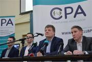 9 January 2017; CPA members from left, Niall Corcoran, Aaron Kernan, CPA Executive member and Grassroots Coordinator, Declan Brennan, Secretary CPA, and Micheal Briody Chairman CPA, at the official launch of the Club Players Association at Ballyboden St Enda's GAA in Firhouse Rd, Ballyroan, Dublin. The CPA are calling for all GAA Club members to register at www.gaaclubplayers.com to help 'Fix The Fixtures' Photo by Piaras Ó Mídheach/Sportsfile