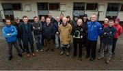10 January 2017; Nominations are now open for the 2017 Godolphin Stud and Stable Staff Awards at www.studandstablestaffawards.ie. The awards encompass 10 categories, which carry total prize-money of €80,000, an increase of €10,000 from 2016. The 2017 awards will take place in the Newpark Hotel in Kilkenny on Tuesday, May 9th.  Pictured at the launch is assistant trainer Jimmy O'Neill, holding his Irish Racing Excellence Award 2016, trainer John Oxx, left, and Joe Osborne, right, Managing Director Godolphin Ireland, accompanied by staff from John Oxx's Yard, at John Oxx's Yard, Currabeg, Kildare. Photo by Seb Daly/Sportsfile