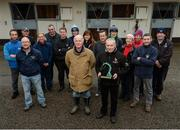 10 January 2017; Nominations are now open for the 2017 Godolphin Stud and Stable Staff Awards at www.studandstablestaffawards.ie. The awards encompass 10 categories, which carry total prize-money of €80,000, an increase of €10,000 from 2016. The 2017 awards will take place in the Newpark Hotel in Kilkenny on Tuesday, May 9th. Pictured at the launch are trainer John Oxx, centre, and assistant trainer Jimmy O'Neill, winner of The Irish Racing Excellence Award 2016, accompanied by staff from John Oxx's Yard, at John Oxx's Yard, Currabeg, Kildare.  Photo by Seb Daly/Sportsfile