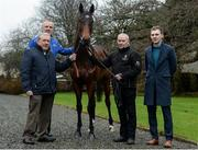 10 January 2017; Nominations are now open for the 2017 Godolphin Stud and Stable Staff Awards at www.studandstablestaffawards.ie. The awards encompass 10 categories, which carry total prize-money of €80,000, an increase of €10,000 from 2016. The 2017 awards will take place in the Newpark Hotel in Kilkenny on Tuesday, May 9th.  Pictured at the launch are, from left, Bernard Caldwell, Chairman of the Irish Stable Staff Association, Joe Osborne, Managing Director Godolphin Ireland, assistant trainer Jimmy O'Neill, winner of The Irish Racing Excellence Award 2016, and Michael Mulvihill, Racing Post Business Development, at John Oxx's Yard, Currabeg, Kildare. Photo by Seb Daly/Sportsfile