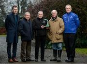 10 January 2017; Nominations are now open for the 2017 Godolphin Stud and Stable Staff Awards at www.studandstablestaffawards.ie. The awards encompass 10 categories, which carry total prize-money of €80,000, an increase of €10,000 from 2016. The 2017 awards will take place in the Newpark Hotel in Kilkenny on Tuesday, May 9th. Pictured at the launch are, from left, Michael Mulvihill, Racing Post Business Development, Bernard Caldwell, Chairman of the Irish Stable Staff Association, Jimmy O'Neill, winner of The Irish Racing Excellence Award 2016, trainer John Oxx, and Joe Osborne, Managing Director Godolphin Ireland, at John Oxx's Yard, Currabeg, Kildare. Photo by Seb Daly/Sportsfile