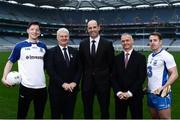 10 January 2017; In attendance at the GAA and GPA launch of the ESRI Research Project at Croke Park in Dublin are, from left, Monaghan footaballer Conor McManus, Uachtarán Chumann Lúthchleas Aogán Ó Fearghail, GPA President Dermot Earley, ERSI Director Alan Barrett and Waterford hurler Noel Connors. Photo by Sam Barnes/Sportsfile