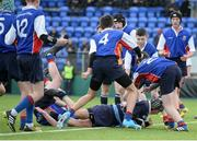10 January 2017; Finn Sunderman of Newpark Comprehensive scores his side's third try during the Bank of Ireland Fr Godfrey Cup Round 1 match between Newpark Comprehensive and Templeogue College at Donnybrook Stadium in Donnybrook, Dublin. Photo by Cody Glenn/Sportsfile