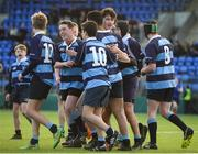 10 January 2017; Sam Turner, hidden, of Newpark Comprehensive is congratulated by team-mates after scoring his team's fourth try during the Bank of Ireland Fr Godfrey Cup Round 1 match between Newpark Comprehensive and Templeogue College at Donnybrook Stadium in Donnybrook, Dublin. Photo by Cody Glenn/Sportsfile