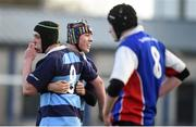 10 January 2017; Newpark Comprehensive team-mates Adam Falkner, left, and Finn Sunderman celebrate at the final whistle of the Bank of Ireland Fr Godfrey Cup Round 1 match between Newpark Comprehensive and Templeogue College at Donnybrook Stadium in Donnybrook, Dublin. Photo by Cody Glenn/Sportsfile
