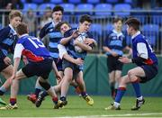 10 January 2017; Jose Considine Esquivel Faria is tackled by Liam Skov of Templeogue College during the Bank of Ireland Fr Godfrey Cup Round 1 match between Newpark Comprehensive and Templeogue College at Donnybrook Stadium in Donnybrook, Dublin. Photo by Cody Glenn/Sportsfile