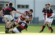 11 January 2017; Sean Dunne of Wesley College is tackled by Rhys Butler, 15, and Ronan O'Byrne, left, of The High School during the Bank of Ireland Vinnie Murray Cup Round 1 match between The High School and Wesley College at Donnybrook Stadium in Donnybrook, Dublin. Photo by Sam Barnes/Sportsfile