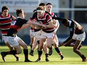 11 January 2017; Sam Darley of Wesley College is tackled by Adam Rufli, left, and Jamie Ukagba of The High School during the Bank of Ireland Vinnie Murray Cup Round 1 match between The High School and Wesley College at Donnybrook Stadium in Donnybrook, Dublin. Photo by Sam Barnes/Sportsfile
