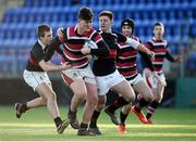 11 January 2017; Campbell Classing of Wesley College in action against Rhys Butler and David Donnelly of The High School during the Bank of Ireland Vinnie Murray Cup Round 1 match between The High School and Wesley College at Donnybrook Stadium in Donnybrook, Dublin. Photo by Sam Barnes/Sportsfile