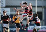 11 January 2017; Sam Darley of Wesley College wins the ball ahead of team mate Fergus Noonan during the Bank of Ireland Vinnie Murray Cup Round 1 match between The High School and Wesley College at Donnybrook Stadium in Donnybrook, Dublin. Photo by Sam Barnes/Sportsfile