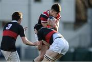 11 January 2017; Fergus Noonan of Wesley College is tackled by Jack O'Gorman of The Highschool during the Bank of Ireland Vinnie Murray Cup Round 1 match between The High School and Wesley College at Donnybrook Stadium in Donnybrook, Dublin. Photo by Sam Barnes/Sportsfile