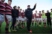 11 January 2017; Wesley College head coach Patrick Collins gives a team talk following the Bank of Ireland Vinnie Murray Cup Round 1 match between The High School and Wesley College at Donnybrook Stadium in Donnybrook, Dublin. Photo by Sam Barnes/Sportsfile