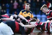 11 January 2017; Referee Robbie O'Flynn gives instructions to the scrum during the Bank of Ireland Vinnie Murray Cup Round 1 match between The High School and Wesley College at Donnybrook Stadium in Donnybrook, Dublin. Photo by Sam Barnes/Sportsfile