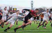 11 January 2017; Cameron Watson of CBC Monkstown goes over to score his sides first try despite the attentions of Mark Myler of Presentation College Bray during the Bank of Ireland Vinnie Murray Cup Round 1 match between Presentation College Bray and CBC Monkstown Park at Donnybrook Stadium in Donnybrook, Dublin. Photo by Sam Barnes/Sportsfile