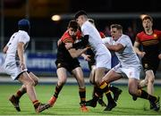 11 January 2017; Harry Shaw of CBC Monkstown is tackled by Alan Douglas, right, and Aaron Walsh of Presentation College Bray during the Bank of Ireland Vinnie Murray Cup Round 1 match between Presentation College Bray and CBC Monkstown Park at Donnybrook Stadium in Donnybrook, Dublin. Photo by Sam Barnes/Sportsfile