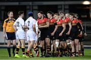 11 January 2017; Players from both sides shake hands following the Bank of Ireland Vinnie Murray Cup Round 1 match between Presentation College Bray and CBC Monkstown Park at Donnybrook Stadium in Donnybrook, Dublin. Photo by Sam Barnes/Sportsfile