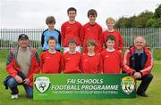 1 June 2011; The Roxborough NS, Co. Limerick, team, back row from left, Séan McNamara, John Blake, Brian Ryan and Ruairi Casserly with front row from left, coach Joe Harrington, Karl Moloney, Liam Harrington, Mark Edwards, James Deery and coach Donal Leahy. FAI Schools 5-a-Side National Finals, Leah Victoria Park, Tullamore Town FC, Co. Offaly. Picture credit: Barry Cregg / SPORTSFILE
