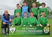 1 June 2011; The Scoil Phádraig NS, Ballina Co. Mayo, team, back row from left, Jordan Delaney, John Battle, Daniel Maughan and Simon Leonard with front row from left, coach Brian Lawlor, Jason Muldoon, Mark Birrane, Eric Nash and Roy Collins. FAI Schools 5-a-Side National Finals, Leah Victoria Park, Tullamore Town FC, Co. Offaly. Picture credit: Barry Cregg / SPORTSFILE
