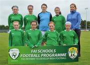 1 June 2011; The Holy Family NS, Newport, Co. Mayo, team. Back row from left, Ellie Dillane, Sarah Baynes, Emma Knox, Jennifer Chambers and manager Deirdre Nevin. Front row from left, Aisling McNulty, Feena McManamon, Ann Sheridan and Rachel Baynes. FAI Schools 5-a-Side National Finals, Leah Victoria Park, Tullamore Town FC, Co. Offaly. Picture credit: Barry Cregg / SPORTSFILE