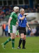 8 January 2017; Séamus Hickey of Limerick remonstrates with referee Johnny Ryan during the Co-Op Superstores Munster Senior Hurling League First Round match between Waterford and Limerick at Fraher Field in Dungarvan, Co. Waterford. Photo by Piaras Ó Mídheach/Sportsfile
