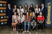 12 January 2017; The Continental Tyres Women's National League Team of the Season, pictured front row, from left, Leanne Kiernan, Shelbourne Ladies, Pearl Slattery, Shelbourne Ladies, Noelle Murray, Shelbourne Ladies, Siobhan Killeen, Shelbourne Ladies, Roma McLaughlin, Peamount United, back row, from left, Tom Dennigan, General Manager Continental Tyres, Amanda McQuillan, Shelbourne Ladies, Jetta Berrill, UCD Waves, Chloe Moloney, Galway WFC, Karen Duggan, UCD Waves, Niamh Prior, UCD Waves, and Fran Gavin, FAI Director of Competitions, during the Continental Tyres Women's National League Awards ceremony at the (Arrol Suite) Guinness Storehouse in Dublin 8. Photo by Cody Glenn/Sportsfile
