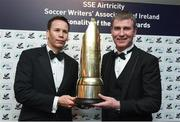 13 January 2017; Dundalk FC manager Stephen Kenny, right, is presented with The SSE Airtricity Soccer Writers' Association of Ireland Personality of the Year Award by Ronan Brady, Head of Marketing, SSE Airtricity, during The SSE Airtricity Soccer Writers' Association of Ireland Awards 2016 at the Conrad Hotel in Dublin. Photo by David Maher/Sportsfile