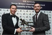 13 January 2017; Cork City goalkeeper Mark McNulty, right, is presented the  The SSE Airtricity Soccer Writers' Association of Ireland Goalkeeper of the Year Award by Ronan Brady, Head of Marketing, SSE Airtricity, during The SSE Airtricity Soccer Writers' Association of Ireland Awards 2016 at the Conrad Hotel in Dublin. Photo by David Maher/Sportsfile