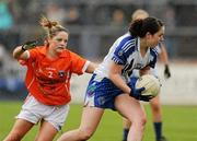 5 June 2011; Catroina McConnell, Monaghan, in action against Sinead McCoy, Armagh. Ulster Ladies Football Senior Championship, Armagh v Monaghan, Armagh v Monaghan, Healy Park, Omagh, Co. Tyrone. Picture credit: Oliver McVeigh / SPORTSFILE