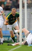 5 June 2011; Meath's Graham Geraghty celebrates after punching the ball in to the Kildare net. The goal was subsequently disallowed by referee Syl Doyle. Leinster GAA Football Senior Championship Quarter-Final, Kildare v Meath, Croke Park, Dublin. Picture credit: Ray McManus / SPORTSFILE