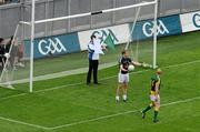 5 June 2011; A match umpire's crosses the goals and points flags displaying the signal indicating a square ball, after Meath's Graham geraghty had put the ball into the Kildare net. Leinster GAA Football Senior Championship Quarter-Final, Kildare v Meath, Croke Park, Dublin. Picture credit: Brendan Moran / SPORTSFILE