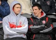 5 June 2011; Tyrone's injured players Enda McGinley and PJ Quinn watch on from the stand. Ulster GAA Football Senior Championship Quarter-Final, Healy Park, Tyrone v Monaghan, Omagh, Co. Tyrone. Picture credit: Oliver McVeigh / SPORTSFILE