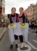 6 June 2011; Cathy Blake, left, and Karen Reilly, both from Swords, Co. Dublin, who ran in aid of Swords Educate Together N.S., before the 2011 Flora Womens Mini Marathon. 2011 Flora Womens Mini Marathon, Dublin City. Picture credit: Pat Murphy / SPORTSFILE