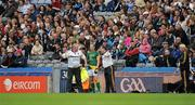 5 June 2011; Manager Seamus McEneaney and selector Paul Grimley, left, speak to Graham Geraghty as he is introduced as a second half substitute for Meath. Leinster GAA Football Senior Championship Quarter-Final, Kildare v Meath, Croke Park, Dublin. Picture credit: Ray McManus / SPORTSFILE