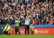 5 June 2011; Selector Paul Grimley, left, speaks to Graham Geraghty before he is introduced as a second half substitute for Meath. Leinster GAA Football Senior Championship Quarter-Final, Kildare v Meath, Croke Park, Dublin. Picture credit: Ray McManus / SPORTSFILE