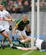 5 June 2011; Meath's Graham Geraghty celebrates after punching the ball in to the Kildare net. The 'goal' was subsequently disallowed by referee Syl Doyle. Leinster GAA Football Senior Championship Quarter-Final, Kildare v Meath, Croke Park, Dublin. Picture credit: Ray McManus / SPORTSFILE