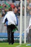 5 June 2011; An umpire moves to collect the white flag before indicating that a goal, punched to the back of the Kildare net by Graham Geraghty, had been disallowed by the referee. Leinster GAA Football Senior Championship Quarter-Final, Kildare v Meath, Croke Park, Dublin. Picture credit: Ray McManus / SPORTSFILE